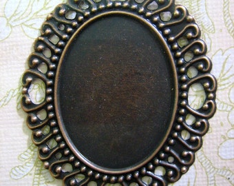 30x40mm copper filigree settings for large cameos, cabochons and resin