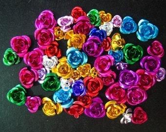 100 beautiful mixed aluminum rose beads