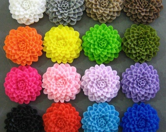 32 mixed 25mm chrysanthemum cabochons (TWO of each color), cute flower cabs