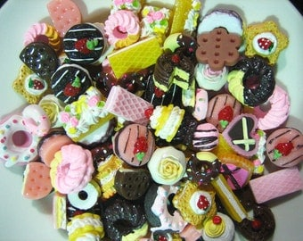 25pc assorted decoden cabochons, mix of miniture kawaii dessert pastry cabs