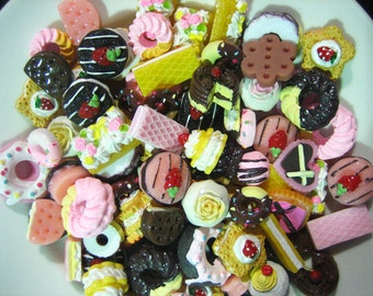100pc assorted decoden cabochons, mix of miniture kawaii dessert pastry cabs