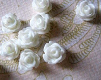 12 white  7.5mm rose cabochons, round flower cabs