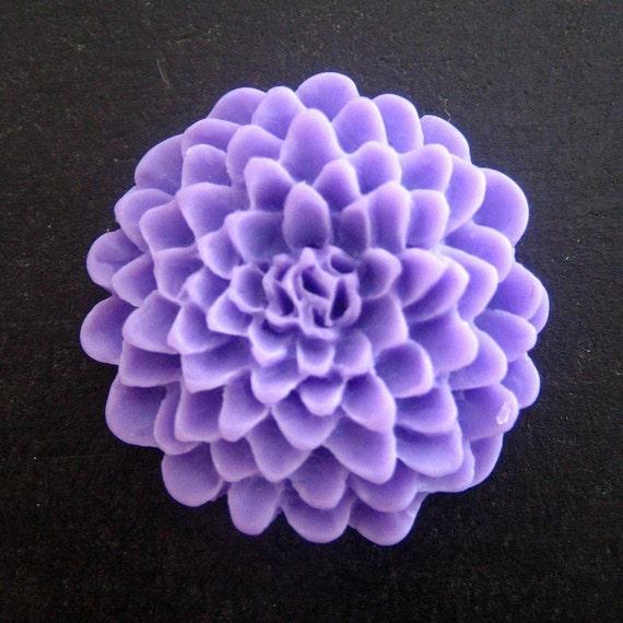 4  25mm mum flower cabochons, large lavender chrysanthemum cabs