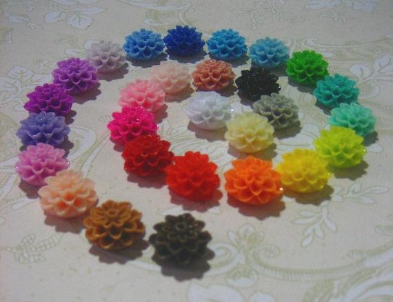 Sale 100 mixed lot 15mm multicolor mum cabochons, resin chrysanthemum cabs