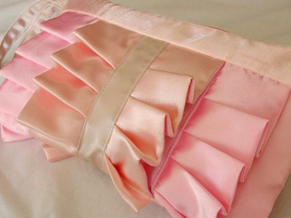Pastel Pink and Peach Satin Ruffle wristlet