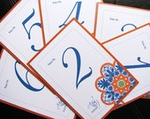 Talavera Tile Table Numbers 1 to 20 - Wedding Day Stationery