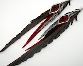 Leather Feather Earrings with Dangling Red and Black Bamboo Brocade Shi Piece