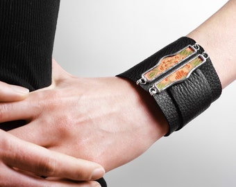 Wrist Cuff, split tabbed medallion on leather- MADE TO ORDER