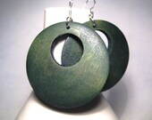 Gorgeous Green Wood Earrings