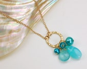 ON SALE Peruvian Opal, Chalcedony, Apatite and Pearl Charm Necklace
