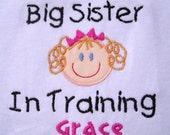 Custom Embroidered Personalized Big Sister In Training T Shirt Match Skin Hair Eye Colors