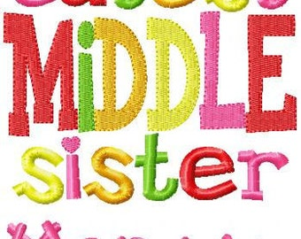 Custom Personalized Embroidered Middle Sister T Shirt Matching Items Available In My Store