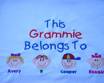 Custom Personalized Grandma Nana Grandpa Papa Mom T Shirt up to 4 faces S M L XL 2x 3x 4x 5x Great Mother's Father's Day Gift