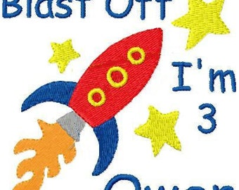 Custom Personalized Boys Rocket Ship Birthday T Shirt Age Can Be Changed just let me know what you need