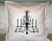 Black Chandelier Shabby Chic 16x16 Pillow Case Buy Any Two Get ONE FREE