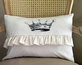 Crown Ruffle Shabby Chic Tea Stained Pillow Case 12x16 Buy Any Two Get One For Free