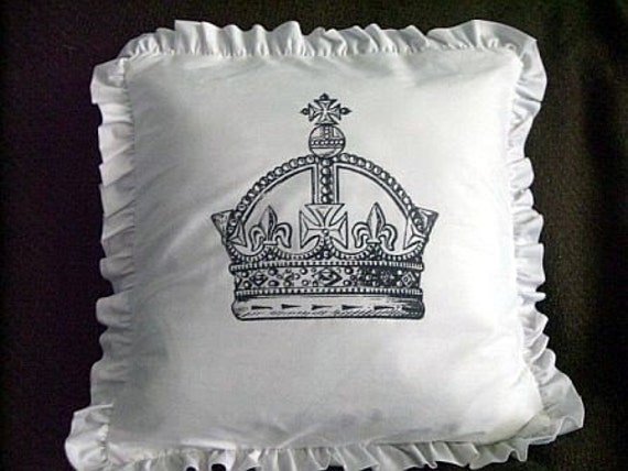 Shabby Chic Ruffle Pillows : Vintage Crown Shabby Chic Ruffle Pillow Case 16x16