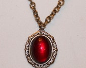 Scarlet Red Looking Glass necklace --SALE--
