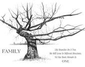 Gnarled Tree in Pencil, Quote about FAMILY, Freehand Drawing, Art Print or Greeting Card, Screensaver, Wallpaper, Instant  Download U Print