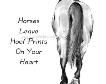 Horses Leave Hoof Prints on Heart Pencil Drawing INSTANT Download Print as Art or use as Computer Screensaver or Phone Wallpaper, WHOA Team
