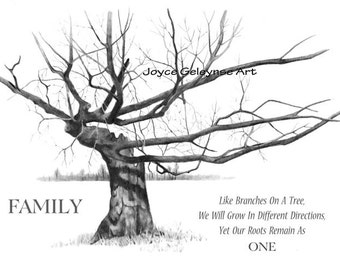 FAMILY, Freehand Pencil Drawing, Gnarly Old Tree: Quote About Family Branching Out But Sharing Same Roots,Instant  Download U Print