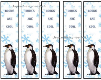 Printable Bookmarks, Penguin, Books are Cool, Kids Party Favors: Instant Download