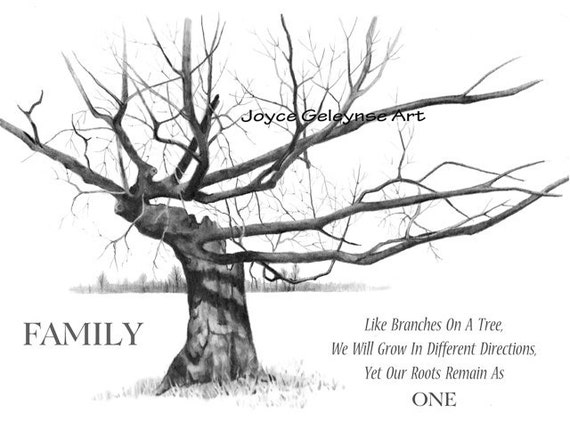 Gnarly Old Tree, With Quote About Family, Pencil Drawing: Instant  Download, Screen Saver, Make Prints, Cards, Stickers, Art Prints