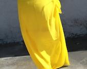 YELLOW-Pareo-solid color-full and half sized-rayon- sarong-lavalava-Tahitian costume skirt, Tahitian costume, Tahitian pareo,