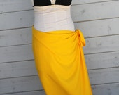 GOLD- bright yellow  color-Pareo-solid color-full and half sized-rayon- sarong, pareau