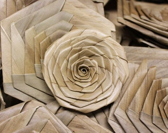 3 inch or 8cm lauhala rosettes, panandas flower rose