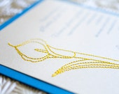 Embroidered Lily Wedding Invitation (Blue, Yellow and Silver) - Design Fee