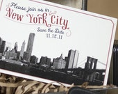 Vintage Skyline Postcard Save the Date (Brooklyn Bridge) - Design Fee
