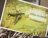 Vintage Travel Postcard Save the Date (Venezuela) - Design Fee