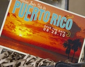 Vintage Tropical Postcard Save the Date (Puerto Rico) - Design Fee