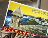 Vintage Poster Art Postcard Save the Date (Puerto Rico) - Design Fee
