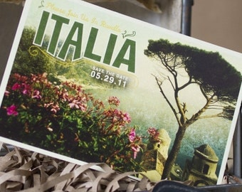 Vintage Travel Postcard Save the Date (Italy) - Design Fee