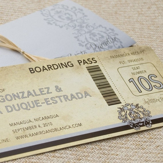 Vintage Damask Boarding Pass with Sleeve (Save the Date) - Design Fee