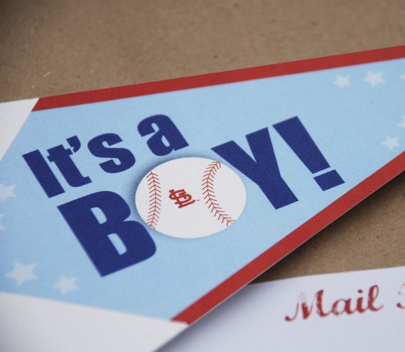 Baseball Pennant Baby Shower Invitation - Design Fee