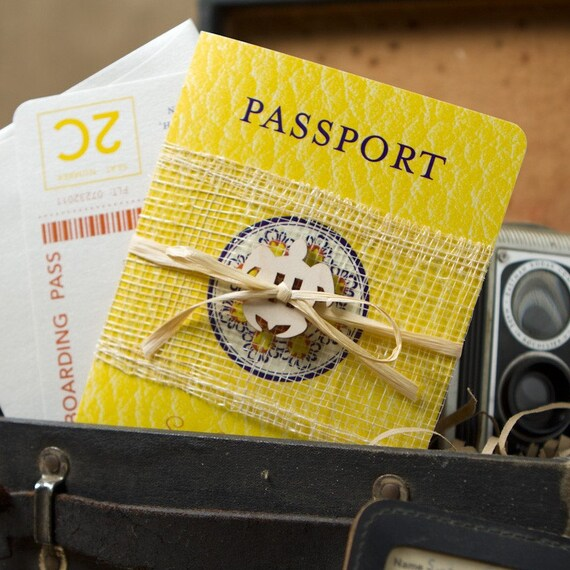 Sea Turtle Passport Destination Wedding Invitation (Grand Cayman) - Design Fee