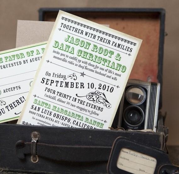 Vintage Western Typography Wedding Invitation (Rustic Wedding) - Design Fee