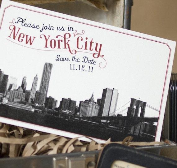 Vintage Skyline Postcard Save the Date (Brooklyn Bridge) - Design Fee