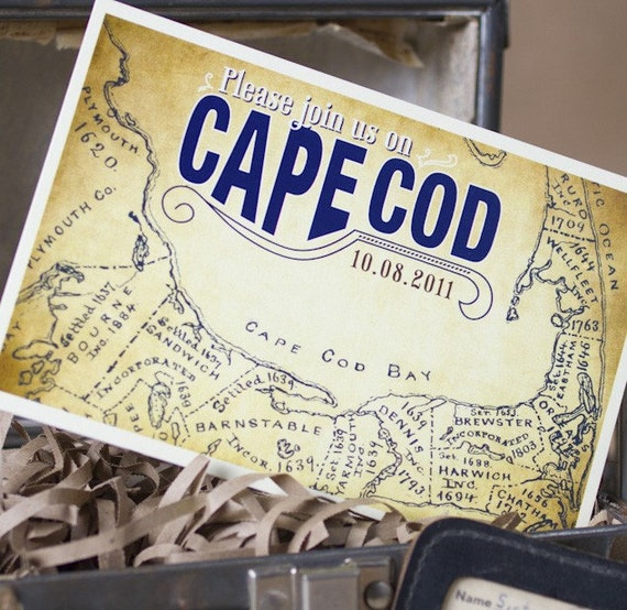 Vintage Map Postcard Save the Date (Cape Cod) - Design Fee