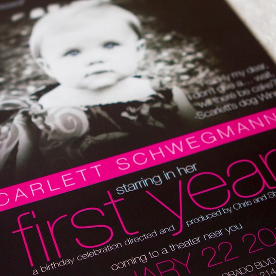 Movie Poster First Birthday Invitation - Design Fee