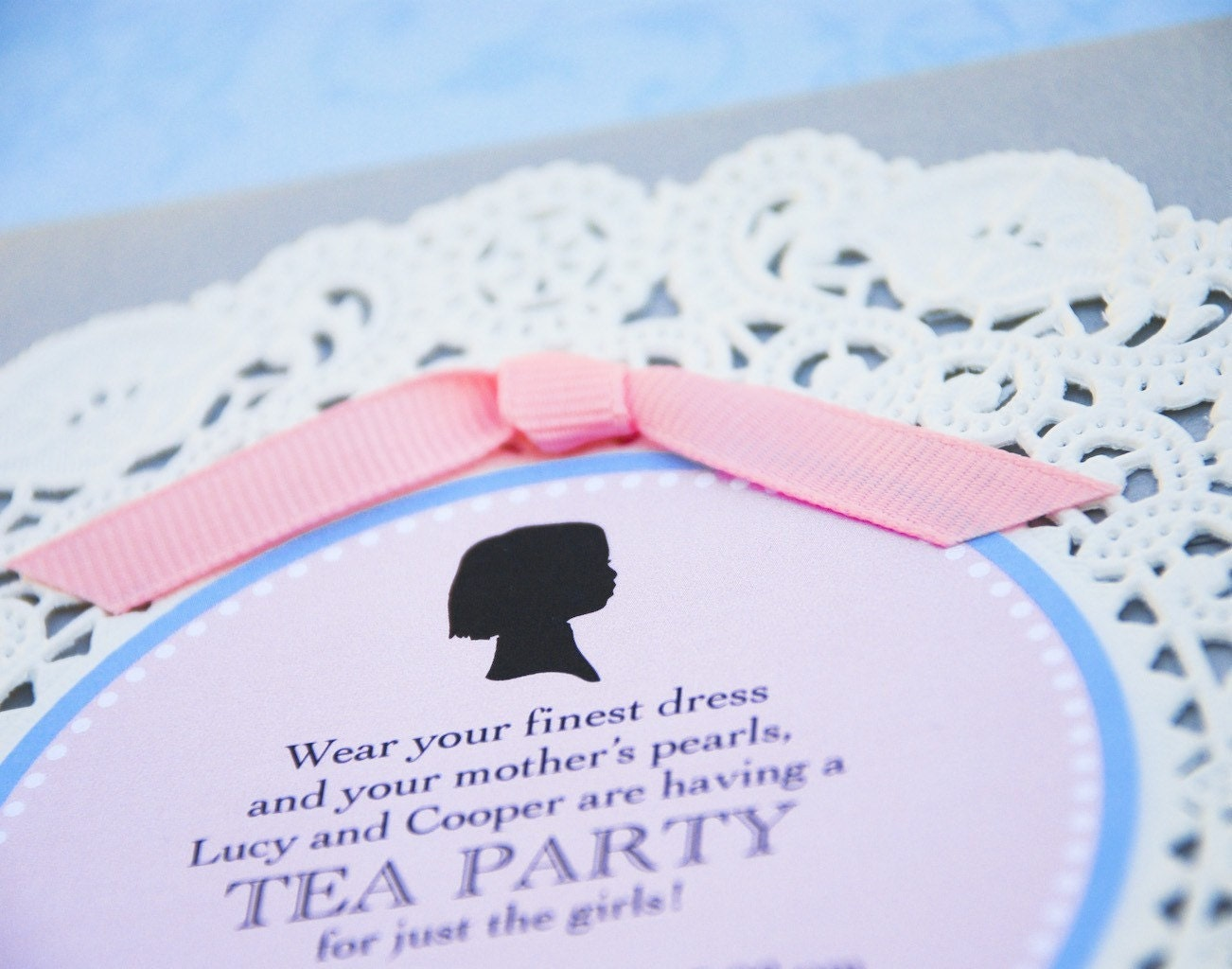 Silhouette and Doily Tea Party Invitation Design Fee