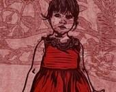 Baby Girl Red Veil Print Linocut Collograph