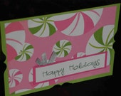 Funky Peppermint Candies Are Happy Holidays - Holiday Card