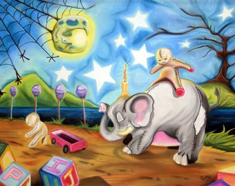 Oh, Grow Up surreal whimsical elephant pop art print by Bryan Collins