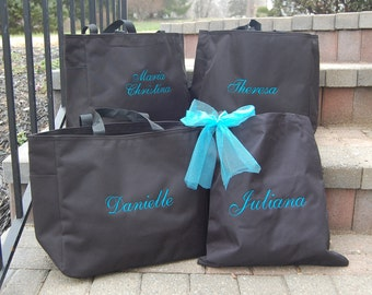 Bride Tote Bag Bridesmaid Personalized Embroidered Monogrammed Bridal Party Gifts Tiffany Blue