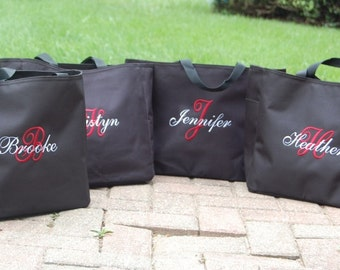 Bride Tote Bag Bridesmaid Totes  - - Set of 7 -
