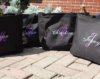 Bridesmaid Totes Monogrammed Personalized Bridal Party Gifts Bride Attendant Wedding Favors